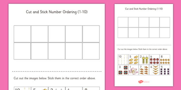 Diwali Themed Cut and Stick Number Ordering Sheets - diwali, cut, stick, number, ordering