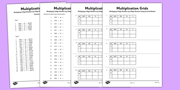 Multiplying 4-Digit Numbers by 2 Digit Numbers Using Grid Method Activity Sheet Pack - Multiplication, grid method, KS2, key, stage, 2, upper, maths, multiply, formal, written, method, worksheet