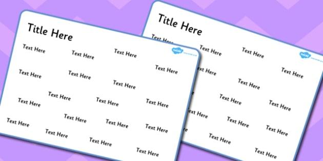 Blank Editable Word Mat - words, literacy, english, visual aids