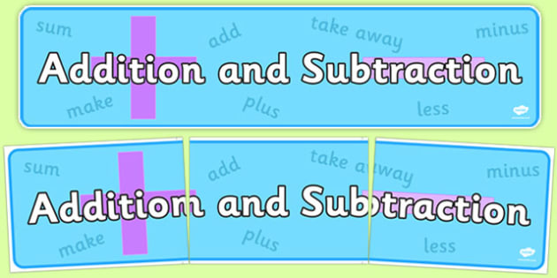 Addition and Subtraction Display Banner - addition and subtraction, display banner, display, banner, addition, subtraction