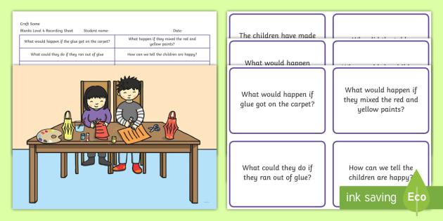 Craft Scene Blanks Level 4 Questions - receptive language, expressive language, verbal reasoning, language delay, language disorder, comprehension, autism