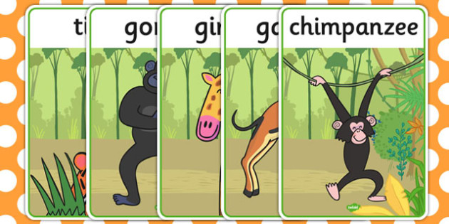 Display Posters to Support Teaching on Rumble in the Jungle - Story, book, resources, Giles Andreae, David Wojtowycz, display, banner, poster, sign, teaching resources, book resources, jungle creatures, jungle, book resource