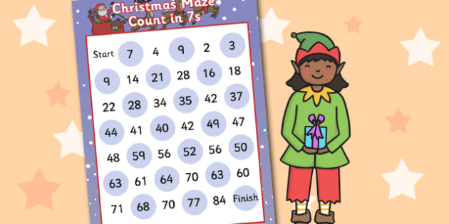 Christmas Counting in 7s Maze Activity - christmas, counting
