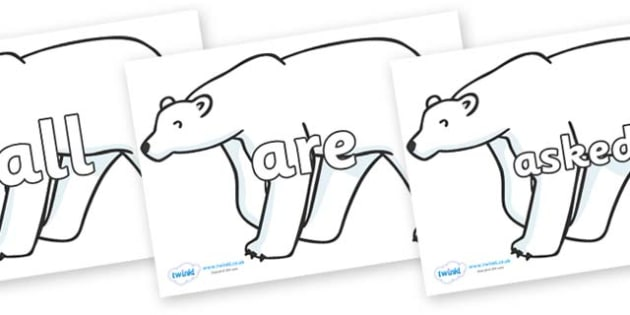Tricky Words on Polar Bears - Tricky words, DfES Letters and Sounds, Letters and sounds, display, words