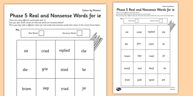 Phase 5 'ie' Colour by Phoneme Real and Nonsense Words - phase 5