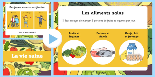 Healthy Eating and Living PowerPoint French - french, powerpoint, power point, interactive, powerpoint presentation, healthy eating, healthy living, health powerpoint, how to be healthy, presentation, slide show, slides, discussion aid, discussion po