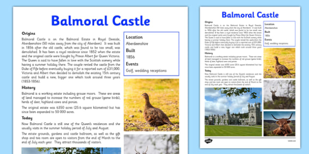 Balmoral Castle Information Sheet - First Level, Social Studies, Scottish history, Scottish Castles