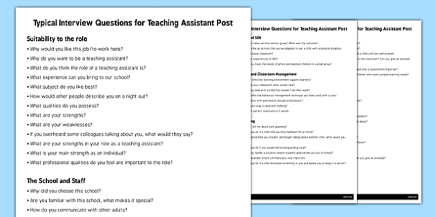 Teaching Assistant Interview Questions - interview, questions
