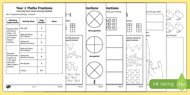 Year 1 Maths Fractions Learning From Home Activity Booklet Activity Booklet