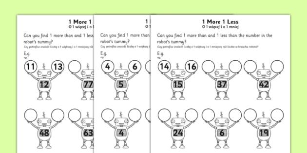 1 More 1 Less Robots Activity Sheet English/Polish