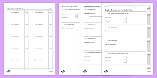 English Grammar and Punctuation Test Editable Template - english, grammar, punctuation, test, editable, template