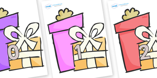 Numbers 0-100 on Presents - Gifts - 0-100, foundation stage numeracy, Number recognition, Number flashcards, counting, number frieze, Display numbers, number posters