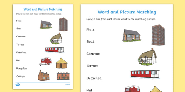 Houses and Homes Word and Picture Matching Worksheet - match