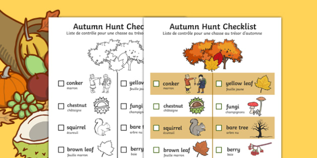Autumn Hunt Checklist English/French