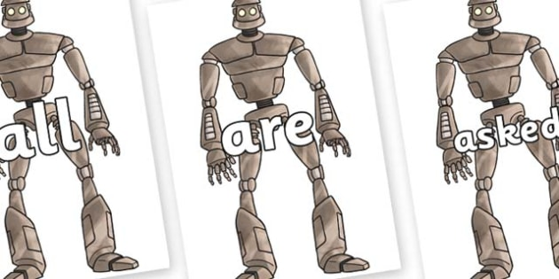 Tricky Words on The Iron Man - Tricky words, DfES Letters and Sounds, Letters and sounds, display, words