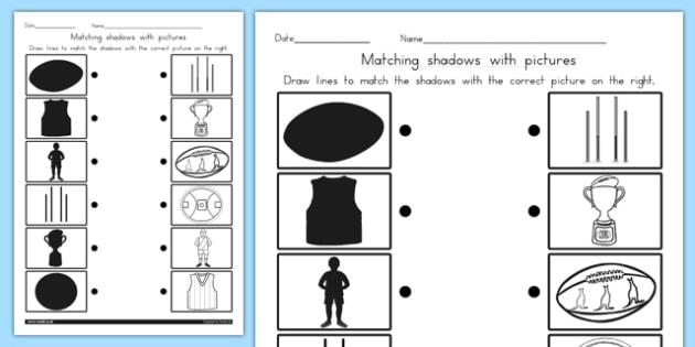 AFL Australian Football League Football Shadow Matching Worksheet