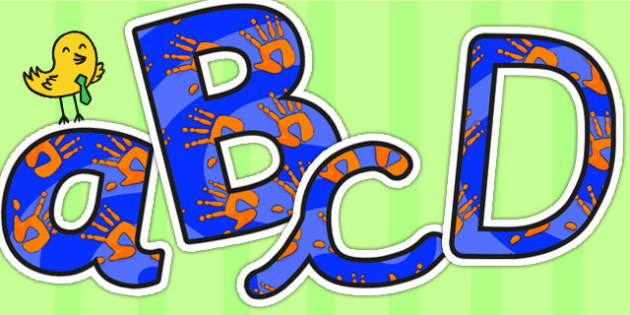 Orange and Blue Handprint Themed Display Lettering - letters
