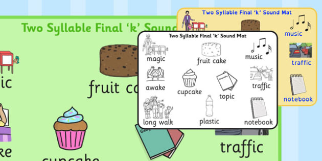 Two Syllable Final 'K' Sound Word Mat 2 - final k, sound, word mat