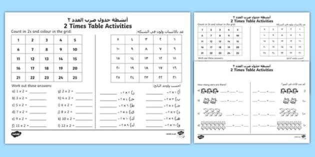 2 Times Table Activity Sheet Arabic/English