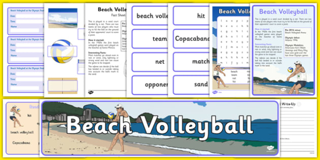 Rio 2016 Olympics Beach Volleyball Resource Pack - Beach Volleyball, Olympics, Olympic Games, sports, Olympic, London, 2012, resource pack, pack resources, activity, Olympic torch, events, flag, countries, medal, Olympic Rings, mascots, flame, compet