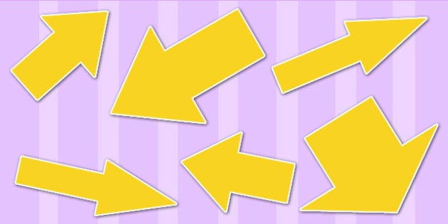Yellow Directional Arrows Cut Out - yellow directional arrows, cut outs, directional arrows, directional arrow cut outs, directional arrows worksheet