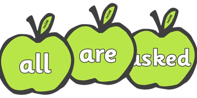 Tricky Words on Apples - Tricky words, DfES Letters and Sounds, Letters and sounds, Apple, apples, fruit, A4, display, harvest,  harvest festival, fruit, apple, pear, orange, wheat, bread, grain, leaves, conker