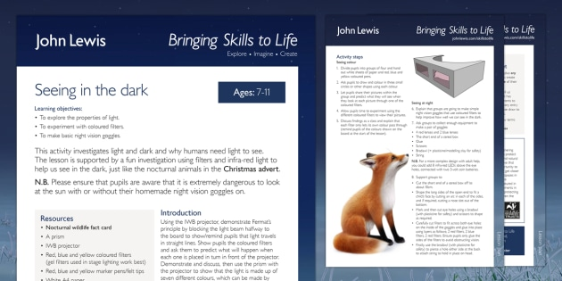 John Lewis Christmas Seeing in the Dark Lesson Plan