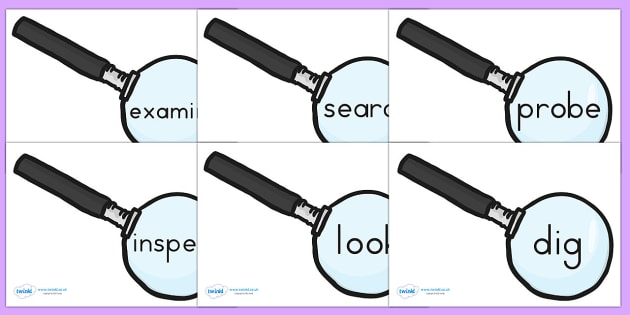 Investigation Area Words On Magnifying Glasses - investigation