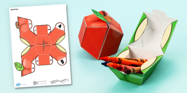 Apple Gift Box Paper Model - apple, gift box, paper model, paper