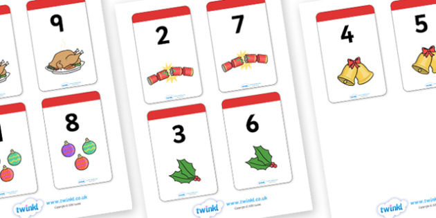 Christmas Themed Number Bonds to 9 Matching Cards - christmas