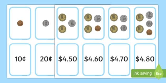 Money Matching Flash Cards Up to 5 Dollar New Zealand - nz, new zealand, money, match, matching, flash cards, flashcards, 5 dollars, activity, money