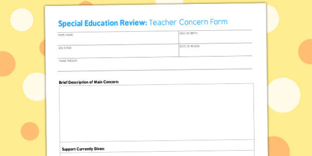 Teacher Concern Form - teacher, concern, form, meeting, sheet