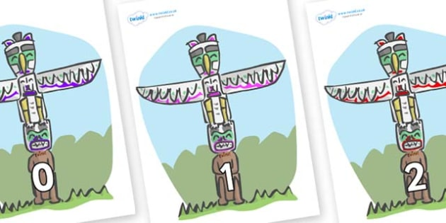Numbers 0-50 on Totem Poles - 0-50, foundation stage numeracy, Number recognition, Number flashcards, counting, number frieze, Display numbers, number posters