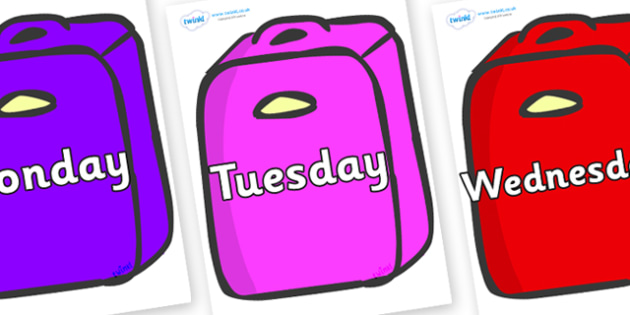 Days of the Week on Suitcases - Days of the Week, Weeks poster, week, display, poster, frieze, Days, Day, Monday, Tuesday, Wednesday, Thursday, Friday, Saturday, Sunday