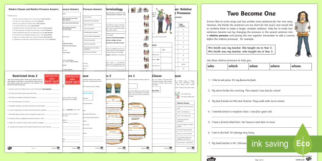 Year 5 and 6: Relative Clauses and Relative Pronouns  Activity Booklet