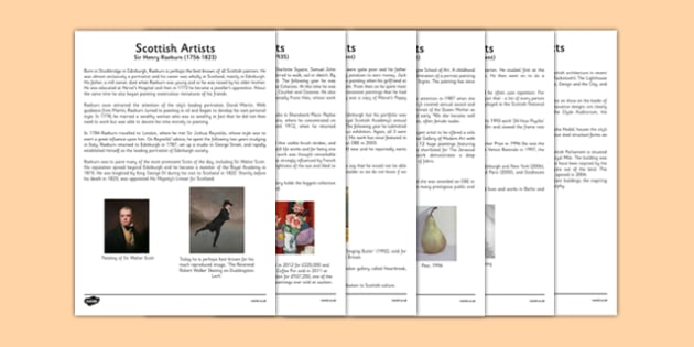 Scottish Artists Information Sheets - CfE, Scottish Artists, art, scotland, sir henry raeburn, samuel john peploe, jack vettriano, alison watt, douglas gordon