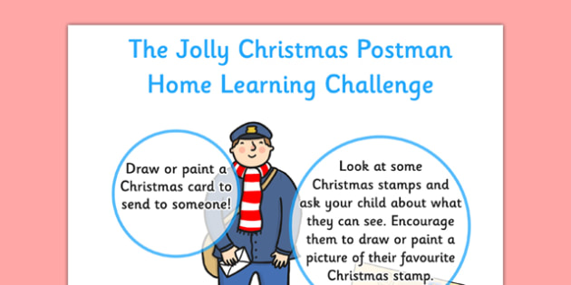 EYFS Home Learning Challenge Sheet to Support Teaching on The Jolly Christmas Postman Nursery FS1