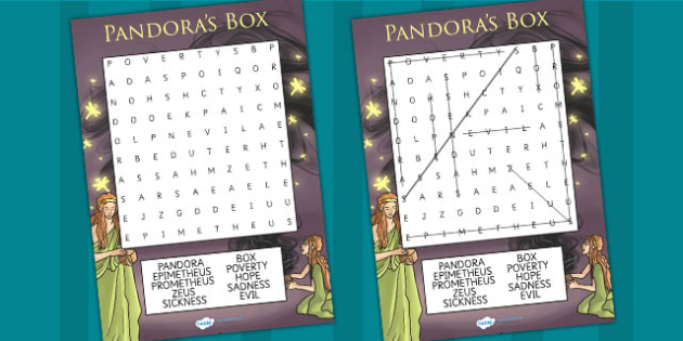 Pandoras Box Ancient Greek Myth Differentiated Wordsearch - myths