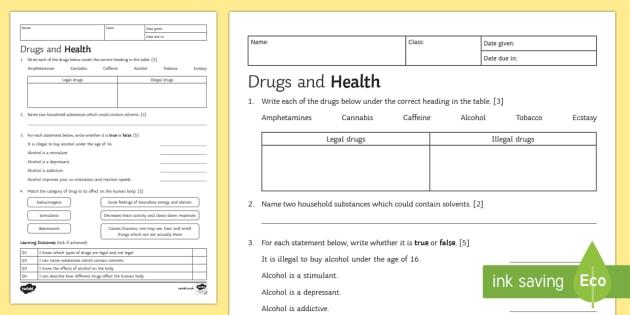 KS3 Drugs and Health Homework Activity Sheet - Homework, drugs, alcohol, drug, legal, illegal, organ systems, stimulants, solvents, depressants, ha