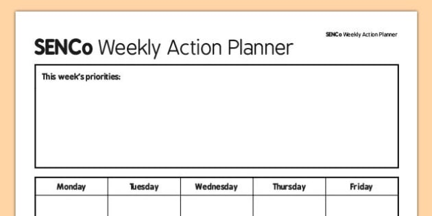 SENCo Weekly Action Planner - senco, action planner, action, planner, plan, weekly