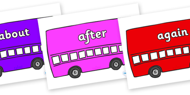 KS1 Keywords on Buses - KS1, CLL, Communication language and literacy, Display, Key words, high frequency words, foundation stage literacy, DfES Letters and Sounds, Letters and Sounds, spelling