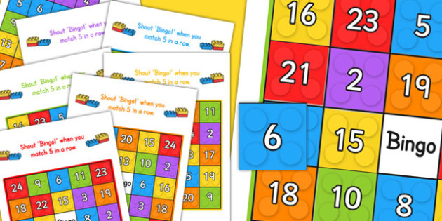 Building Brick Themed Bingo Game Up To 6 Players - games, activity