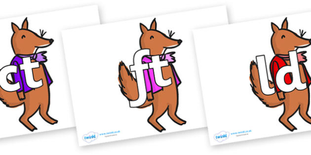 Final Letter Blends on Small Fox 2 to Support Teaching on Fantastic Mr Fox - Final Letters, final letter, letter blend, letter blends, consonant, consonants, digraph, trigraph, literacy, alphabet, letters, foundation stage literacy