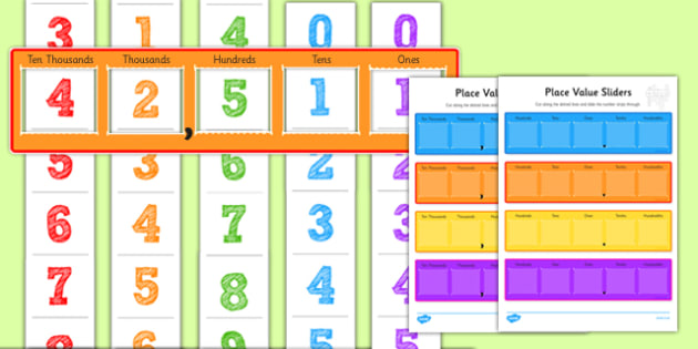 Maths Place Value Sliders - place value, place value slider, numeracy place values, place values, number slider, number strips, numbers, ks2 numeracy