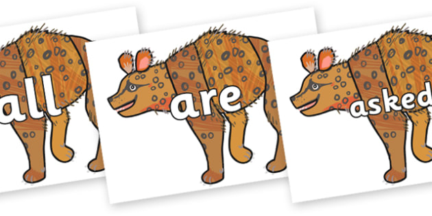 Tricky Words on Hyena to Support Teaching on The Bad Tempered Ladybird - Tricky words, DfES Letters and Sounds, Letters and sounds, display, words