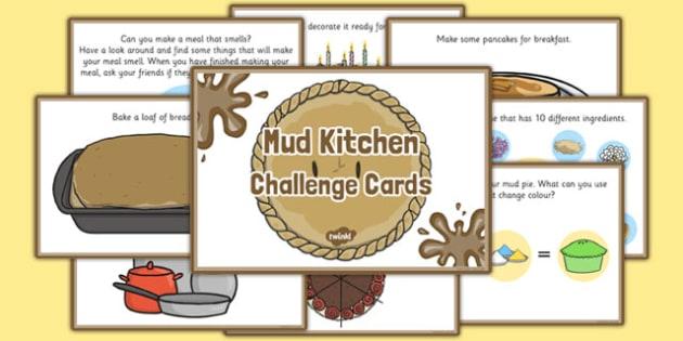 Mud Kitchen Challenge Cards - challenge cards, mud