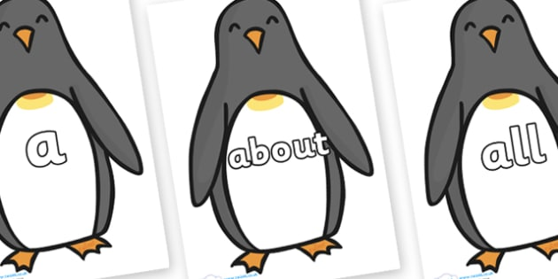 100 High Frequency Words on Penguins - High frequency words, hfw, DfES Letters and Sounds, Letters and Sounds, display words