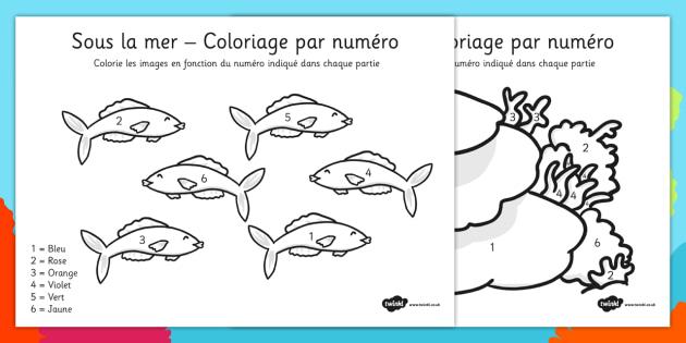 Sous la mer - Coloriage par numéro French - french, under the sea, colour, number