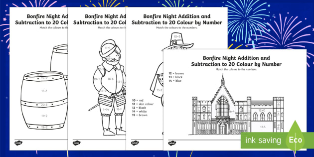 Guy Fawkes Themed Addition and Subtraction to 20 Roll and Colour Activity Sheet