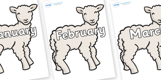 Months of the Year on Lambs - Months of the Year, Months poster, Months display, display, poster, frieze, Months, month, January, February, March, April, May, June, July, August, September